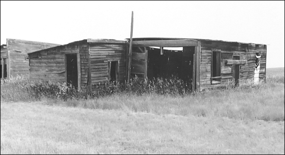 This is what was left of their expanded shack in about 1995.  (18 kb)